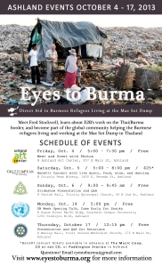 Full Schedule Eyes to Burma in Ashland, OR, October 4 - 17, 2013