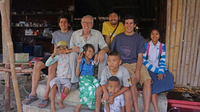 From left to right, Jack, Fred, Atun (Burmese Translator), Cal and some children from the community (including Pisi, Hani, Phyo Phyo three of the five girls enrolled in weekend English lessons)