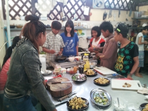 Students enjoy learning to cook new dishes at Borderline Cafe